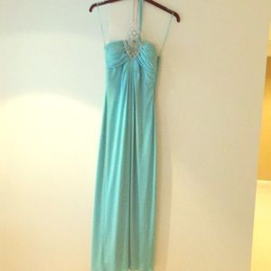 Formal gown with jeweled halter top